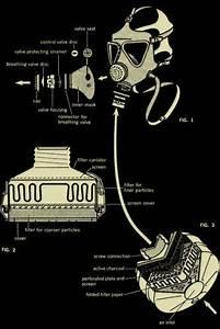 Steampunk Vintage Gas Mask Diagram Totebag  24