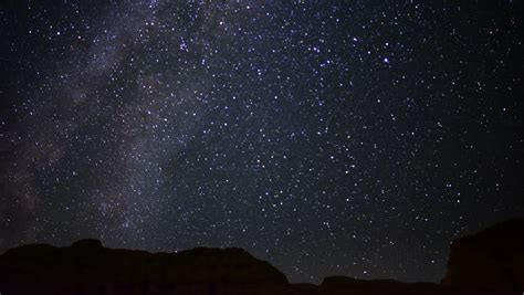 Night Sky Traveling Trough Universe Filled With Stars