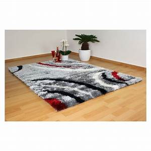 Tapis shaggy gris blanc rouge 120x170 cm tap06043 decoshop26 for Tapis gris rouge blanc