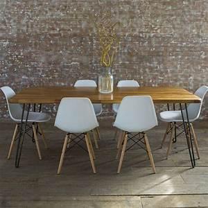 iroko midcentury modern hairpin leg dining table by biggs