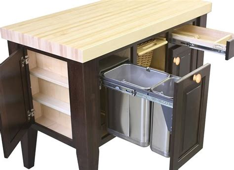 kitchen island with trash bin northern heritage kitchen island and block set traditional kitchen islands and kitchen carts