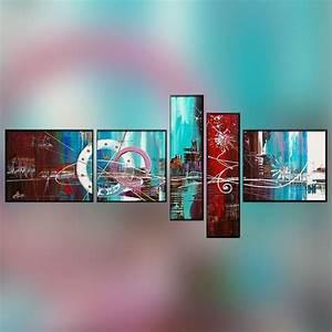 polyptyque 5 panneaux rouge et bleu ciel With meuble sous lavabo avec pied 15 tableau trois panneaux fleurs