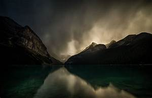 Photography, Landscape, Nature, Lake, Mountains, Dark, Clouds, Reflection, Storm, Lake, Louise