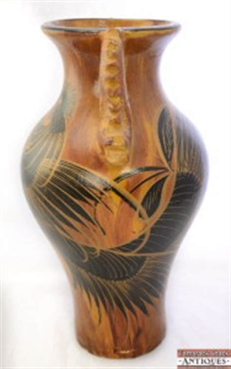 vtg  large mexican pottery handled floor vase black rooster woodgrain motif ebay