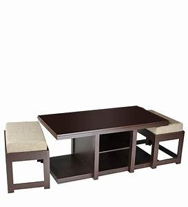 buy rectangular coffee table with two jute cushioned With rectangular coffee table with stools