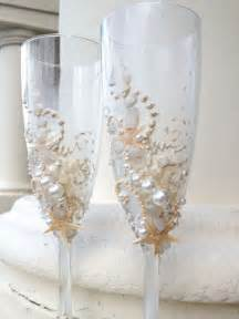 wedding cups starfish wedding chagne glasses wedding toasting flutes in ivory destination wedding