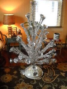 1960 vintage aluminum 4 ft tree with musical rotating stand box ebay