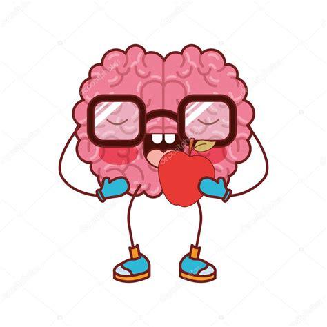 desenhos animados de cérebro com óculos e comendo maçã na