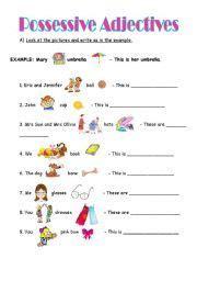 english worksheet possessive adjectives esl pinterest