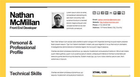 Html And Css Cv Resume Templates by Html Resume Templates Css Menumaker
