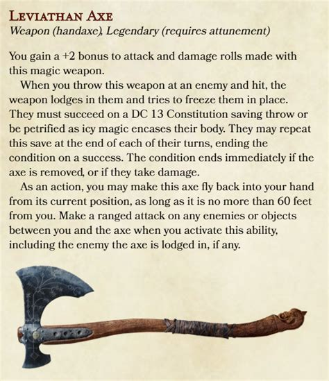 dnd 5e axe leviathan homebrew weapons hammer items race dndhomebrew aipom brew