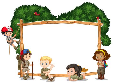 Frame template with kids camping in background - Download ...