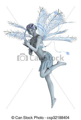 snow fairy flying  digital render   beautiful snow