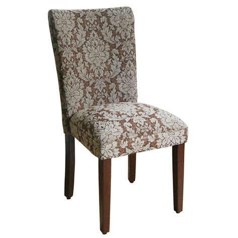 blue and brown damask parson chairs set of 2