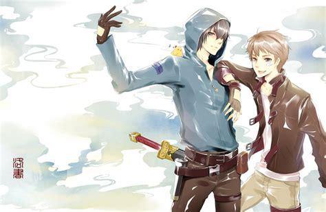 wallpaper anime boys katana hoodie wallpapermaiden