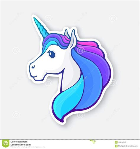autoadesivo della testa dell unicorno di fiaba con una criniera dell arcobaleno illustrazione