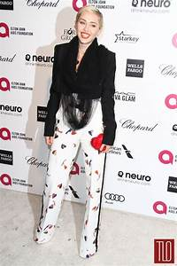 Miley Cyrus in Schiaparelli Couture at the Elton John AIDS ...