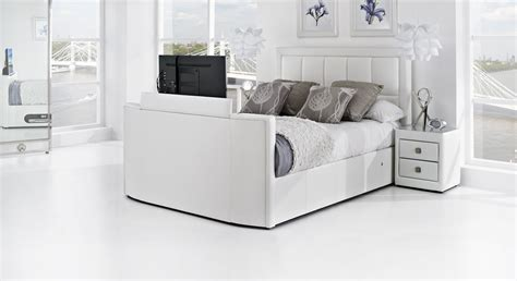 The Bed white leather tv bed leather kingsize tv beds the azure