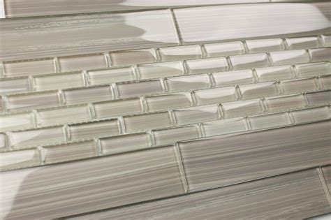 light gray 2x12 hand painted subway glass tile kitchen for
