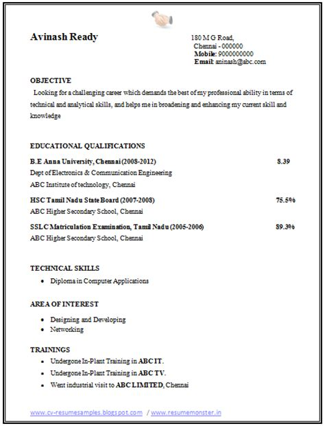 Ece Resume Format by 10000 Cv And Resume Sles With Free Resume Format For An Ece