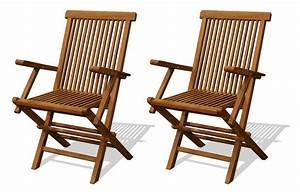Chaise Teck Jardin : chaise de jardin en teck brut avec accoudoirs lot de 2 ~ Teatrodelosmanantiales.com Idées de Décoration