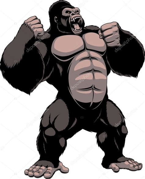 ape clipart the fierce gorilla shouts stock vector 169 andrey makurin