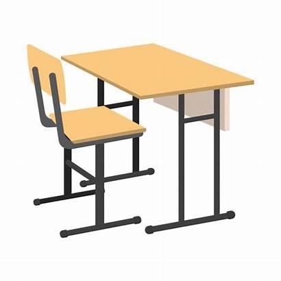 Desk Cartoon Icon Bureau Escuela Mesa Isolated