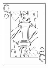 Coloring Pages Queen Playing Hearts Casino Sheet Heart Card Cards Sheets Drawing Alice Explore sketch template