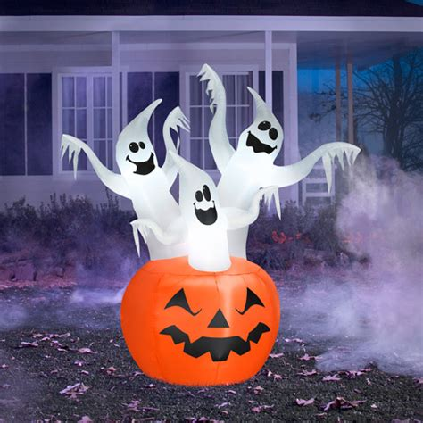 6 5 quot tall inflatable halloween ghost trio walmart com