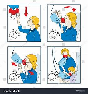 Instructions For Using An Oxygen Mask On The Plane  Vector