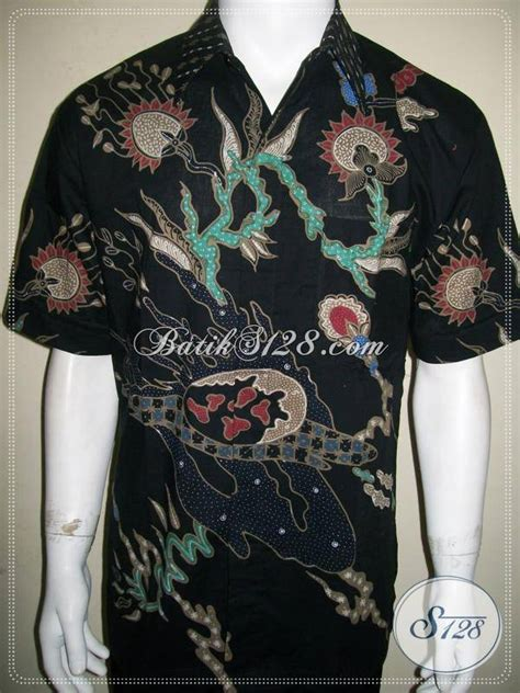 Kalung Motif Semar batik modern pria warna hitam lengan pendek motif abstrak