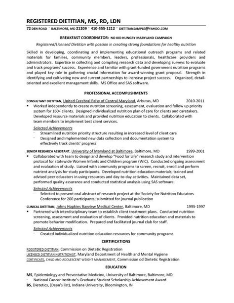 Dietitian Resume Sle by Dietetic Intern Resume 55 Images 28 Resume Templates