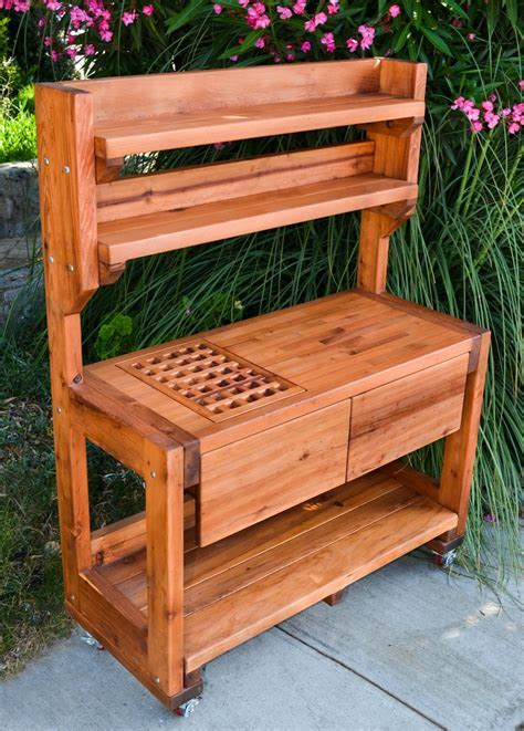 Redwood Potting Bench, Custom Outdoor Wood Bench