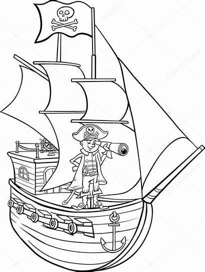 Pirata Colorear Coloring Cartoon Ship Pirate Piraten