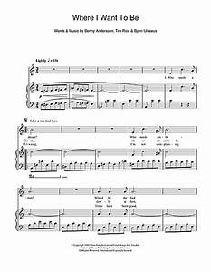 Where I Want To Be (from Chess) sheet music by Andersson ...