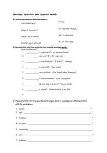 WH Question Words Worksheets