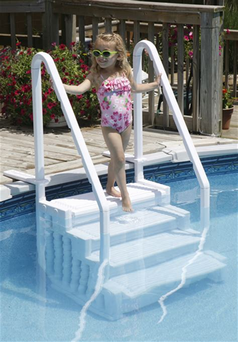 above ground pool steps attached to deck above ground pool steps and ladders