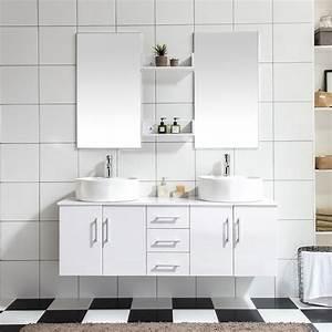 Meuble Salle De Bain 2 Vasques : ares blanc ensemble salle de bain meuble 2 vasques 2 ~ Edinachiropracticcenter.com Idées de Décoration