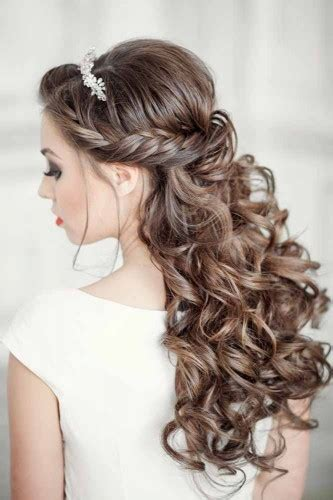 bridesmaid hairstyles wedding hairstyles half up half tulle chantilly wedding