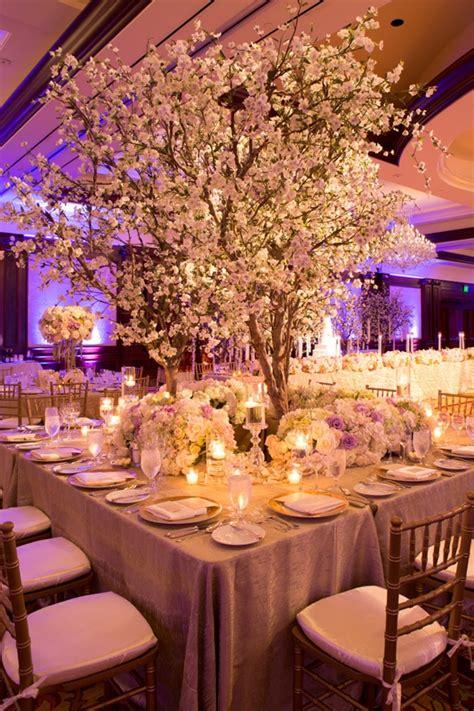 reception decor  table  cherry blossom tree