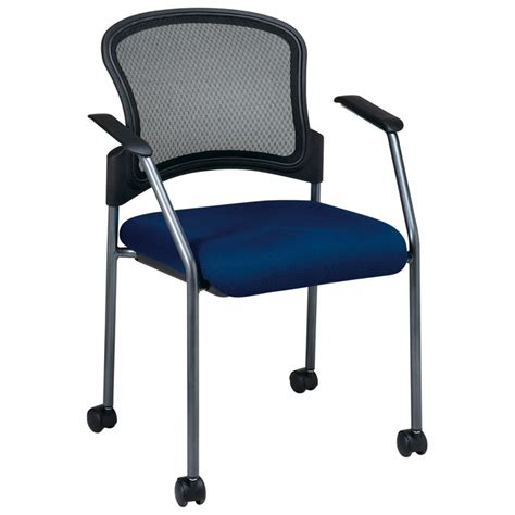 pro line ii stacking visitor s chair with dual wheel