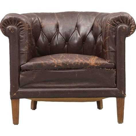 swedish tufted brown leather club chair from