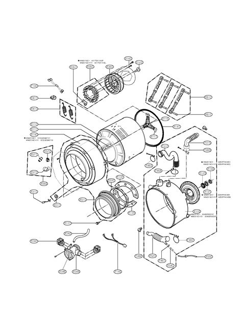 drum and tub assembly parts diagram parts list for model wm2016cw01 lg parts washer parts