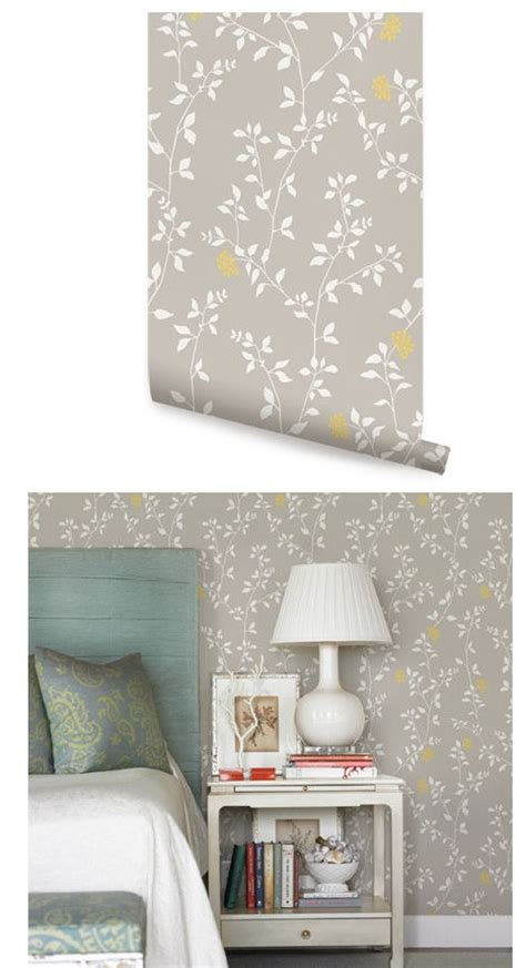 branch flower grey yellow peel stick wallpaper