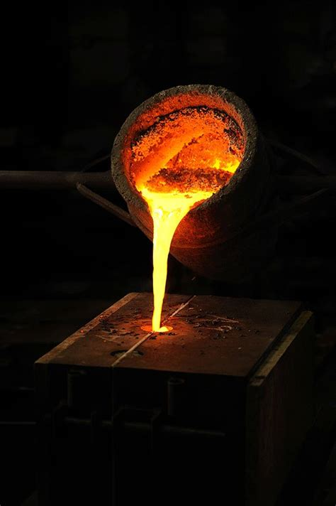 molten metal  poured   sand based molds