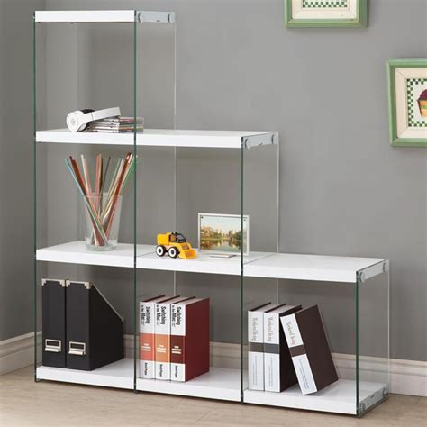 Bookcase With Glass Shelves by Glossy White Black Bookcase With Glass Sides All Nations