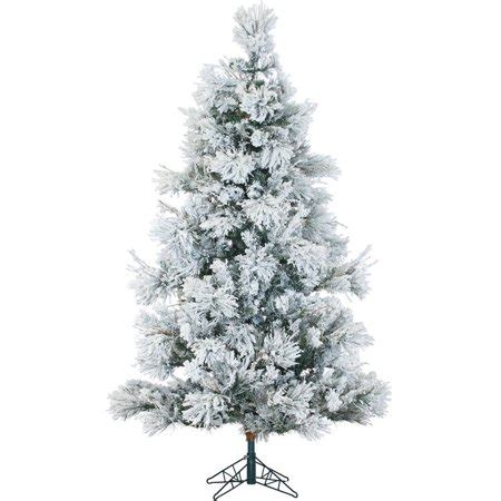 snowiest fake tree fraser hill farm unlit 6 5 flocked snowy pine artificial tree walmart