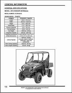2013 Polaris Ranger 400    500 Efi Utv Service Manual On A