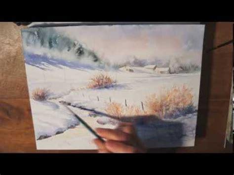 demo aquarelle paysage dhiver watercolor tutorial winter landscape youtube