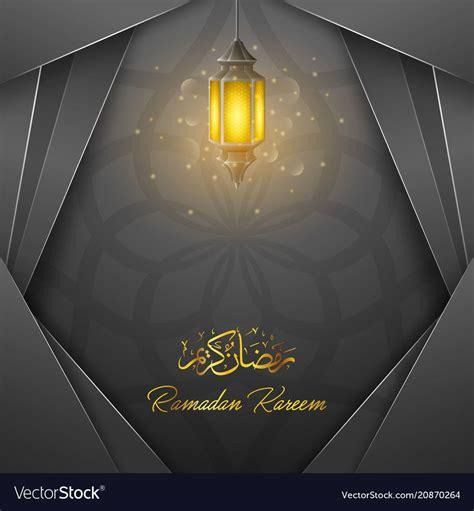 ramadan kareem greeting card template  lantern vector